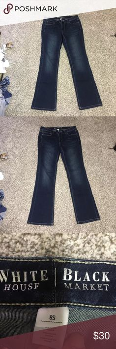White House black market jeans White House black market jeans size 8s. Been worn once. Basically brand new. Darker wash. Pics with and without flash White House Black Market Jeans