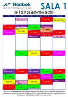 Horario de Actividades - Sala 1 - Del 1 al 14 de Septiembre de 2015 Más información www.reebokmalaga.com