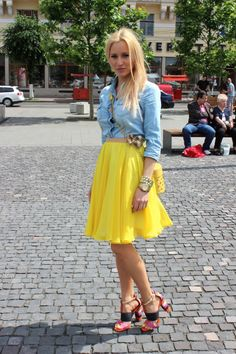 Six ways to wear and style the hot chambray shirt trend, including a chambray top with a bright colored skirt.