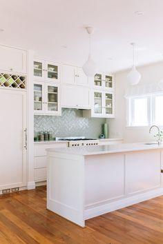 Kitchen Layout, Kitchen Design, Kitchen Ideas, Sage Green Kitchen, Interior Fit Out, Herringbone Tile, Studio Kitchen, Interior Design Studio, Traditional House