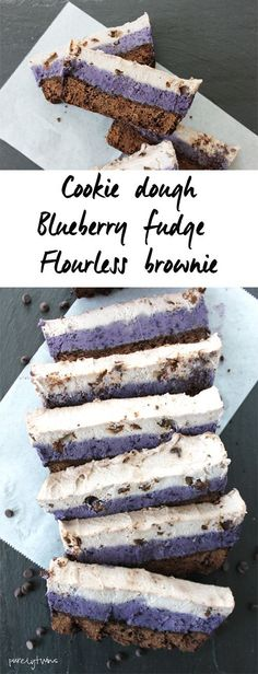 Semi-raw gluten-free grain-free vegan chocolate chip cookie dough blueberry fudge brownies. Dessert doesn't get any better than this fudge brownie recipe with layers of creamy dairy-free layers of vanilla and blueberries topped on rich brownies.