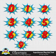 50% OFF SALE Superheroes Pop Art Text and Bubbles by ClipArtopia