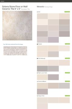 """Solana Stone Floor or Wall Ceramic Tile 6"""" x 6"""". Porcelain Tile. Flooring & Rugs. Menards. Behr. Olympic. PPG Pittsburgh. Ralph Lauren Paint. Sherwin Williams. Valspar Paint.  Click the gray Visit button to see the matching paint names."""