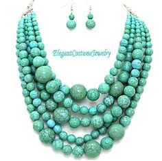 Turquoise Bead Statement Chunky Necklace Set Elegant Jewelry $24.99
