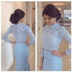 Baby blue lace prom dresses, two pieces mermaid prom dress, long sleeve prom dresses, sexy prom dress, dresses for prom,PD190446