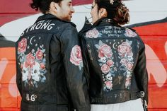 bride and groom stand with their backs to the camera wearing black leather jackets painted with roses and skulls Modern Wedding Inspiration, Wedding Ideas, Adidas Jacket, Bomber Jacket, Leather Jackets, Wearing Black, Skulls, Wedding Colors, Wedding Decorations