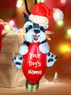 Black and Siver Schnauzer Santa Dog cropped Ears Christmas Light Bulb Ornament Sallys Bits of Clay PERSONALIZED FREE on Etsy, $22.00