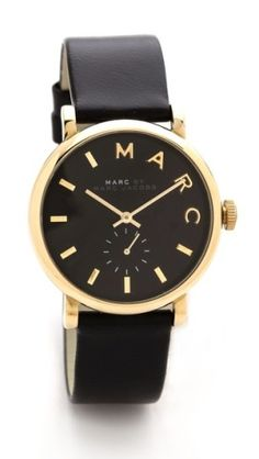 black and gold Leather Baker Watch Jewelry Accessories, Fashion Accessories, Watch Accessories, Marc Jacobs Watch, Look Fashion, Womens Fashion, Mode Inspiration, Diamond Are A Girls Best Friend, Swagg