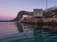 This boutique hotel on the remote Manshausen Island in northern Norway is made up of four sea cabins which all feature stunning panoramic views over the surrounding islands and the Lofoten mountains to the north. Lofoten, Eco Cabin, Timber Cabin, Hotel Aurora Boreal, Design Hotel, Bergen, High Design, Contemporary Cabin, Beau Site