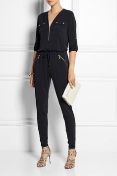 MICHAEL Michael Kors Stretch-jersey jumpsuit: long sleeve, zip fastening, multiple pockets