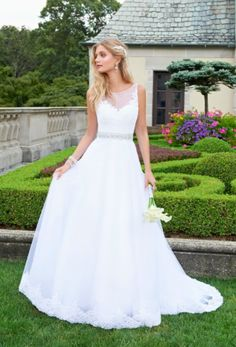 illusion neckline wedding dress with lace applique and tulle