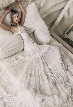 lihi hod 2018 bridal sleeveless spaghetti strap deep plunging sweetheart neckline romantic bohemian a line wedding dress open v back sweep train (1) sdv