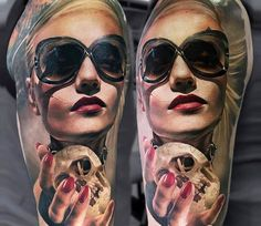 Women with Skull tattoo by Sasha O Kharin