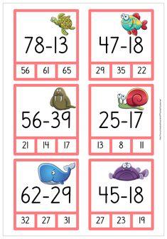 Subtraktion - 3 sidor med nypkort Math 2, 4th Grade Math, Math Games, Math Activities, Free Teaching Resources, Teaching Math, Math Subtraction, Math Task Cards, Math Projects