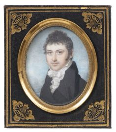 Louis Ami Arlaud-Jurine (GENÈVE 1751 - 1829 PRÉ L'EVEQUE) -  PORTRAIT OF MAN - circa 1810 -  Watercolor and gouache on ivory, carved in a metal frame and leather,  69 x 54 mm