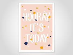 HOORAY TODAY — modern, Kunstdruck, Poster, Bild, Konfetti, Feier, Party, Happy, Geburtstag, Fun, Spaß, Wandbild, Druck, skandinavisch Design von banum auf Etsy
