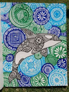 Mandala orca drawing. #orcas #mandala #zentangle #blue #ocean #grean #killerwhale #freetheorcas