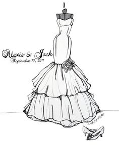 9x12 Custom Wedding Gown Sketch by abgraham on Etsy, $90.00