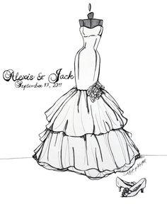 9x12 Custom Wedding Gown Sketch by abgraham on Etsy, $90.00