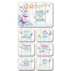 Lisa Pollock Inner Love placemats and coasters, set of 6 Coasters, Lisa, Design, Drink Coasters, Design Comics, Coaster Set