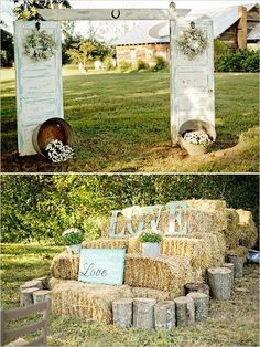 door and hay bales wedding decor ideas / http://www.deerpearlflowers.com/country-rustic-wedding-ideas/