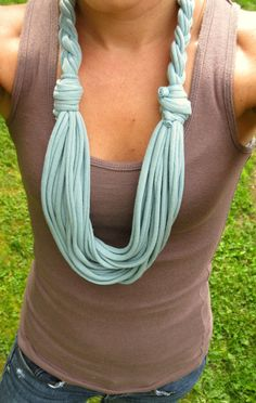 Tshirt Scarf Braided Scarf Infinity Scarves by Scarvesbystephy, $18.00