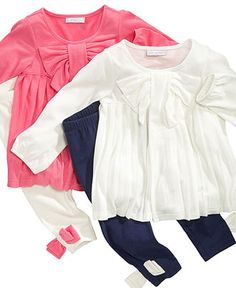 First Impressions Baby Set, Baby Girls Bow Pleated Tunic and Leggings Set - Kids Baby Girl (0-24 months) - Macy's