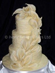 3 Tier Belgian Chocolate Wedding Cake with edible Lilies