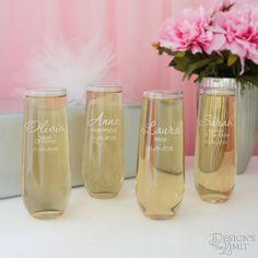 By the Dozen - Stemless Champagne Toasting Flutes with Bridal Monogram Design Options & Font Selection (Bulk - 8.5 oz. Flutes) by DesignstheLimit #TrendingEtsy