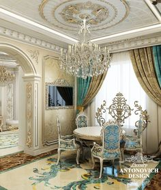 Das Innere des Hauses in BI Village - Cristina Borta - Dekoration Luxury Dining Room, Dining Room Design, Luxury Living, Best Interior Design, Bathroom Interior Design, Luxury Interior, Glam House, Inside A House, Curtain Designs