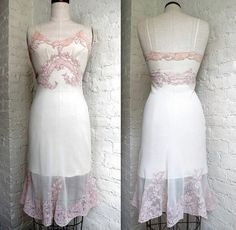 "Vintage lingerie 1950s JUEL PARK ivory silk chiffon slip /w/ 2-tone lace trim, handmade, 32"" bust, Collector's item!"