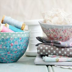 Make these pretty bowls using your fabric scraps and glue. Too Easy!