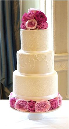 Draped pearl wedding cake from Cakes by   Beth on French Wedding Style - so simple and so beautiful