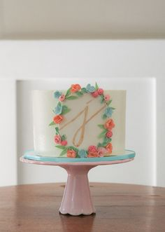 Beautiful Initial Floral Cake. by Erica Obrien