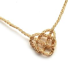 CELTIC necklace gold knot heart wire crochet jewelry by Yoola, $74.00