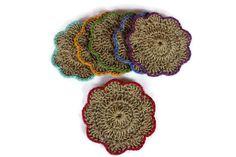 Set Of Six Handmade Hemp Coasters  Crochet Cozy by karmaistanbul, $12.00