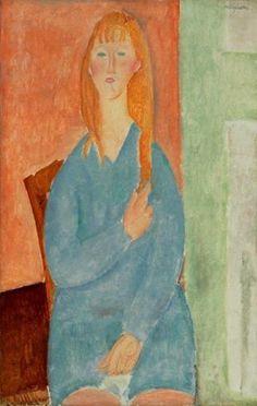 Amedeo Modigliani - Jeune fille assise, les cheveux denoues (Jeune fille en bleu), 1919
