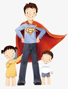 Happy Father's Day - Lovely Children's illustration for Father's Day - Daddy is a Superman - Lovely illustration of Father's day 1 Father's Day Clip Art, Fathers Day Wallpapers, Happy Fathers Day Images, Love Cartoon Couple, Family Picture Poses, Fathers Day Crafts, Cute Family, Art Images, Superman