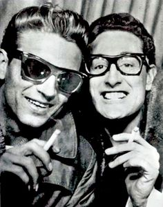 Buddy Holly and Waylon Jennings in a photo-booth on Grand Central Station, New York City - Retronaut (mmm)
