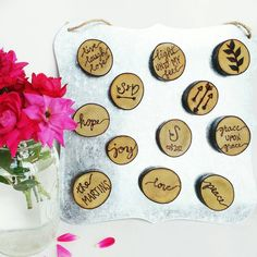rustic magnets for your fridge. great gifts for people who like a rustic home decor look. magnets made out of branches. wood magnets