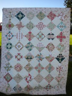 Pastel Floral Quilt 56 x 73 Sampler quilt Farmer's by SewEverAfter, $540.00