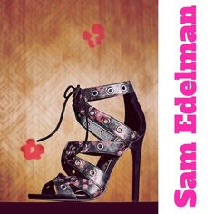 Sam Edelman floral sandal The perfect spring/summer lace up sandal! Rose black. Back zip closure. Grommet detail throughout. Leather. Offers welcome through offer tab. No trades. Sam Edelman Shoes Heels