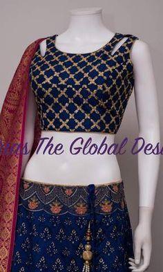 Silk Chania with designer brocade blouse and contrast dupatta Pattu Saree Blouse Designs, Fancy Blouse Designs, Dress Designs, Indian Outfits, Indian Dresses, Western Dresses, Indian Designer Suits, Stylish Blouse Design, Bridal