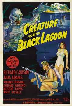 "Creature From the Black Lagoon (Universal International, 1954). Australian One Sheet (27"" X 40""). #SciFi #SciFiPoster #MoviePoster"