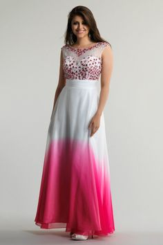 2014 Bateau Neckline Beaded Bodice Lace And Chiffon Prom Dress Ruffled Gradient Color