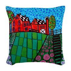 Landscape Art Pillow  Throw Pillow  Folk Art by HeatherGallerArt, $60.00