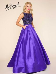 Purple ball gown with sheer beaded bodice, side pockets and sweep train | Mac Duggal 77125H