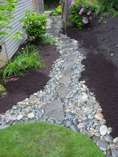 River Rock Walkway. This might work on the side of my house, where it drains to my backyard.