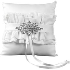 8-Inch Ivy Lane Design Country Romance Square Ring Pillow White