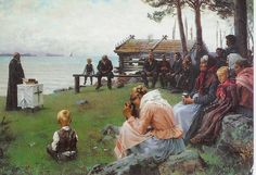 Divine Service in the Uusimaa Archipelago / Jumalanpalvelus Uudenmaan saaristossa Albert Edelfelt Finland Scandinavian Paintings, Scandinavian Art, Belle Epoque, Vincent Van Gogh, Chur, Traditional Paintings, Portraits, Art Google, Les Oeuvres